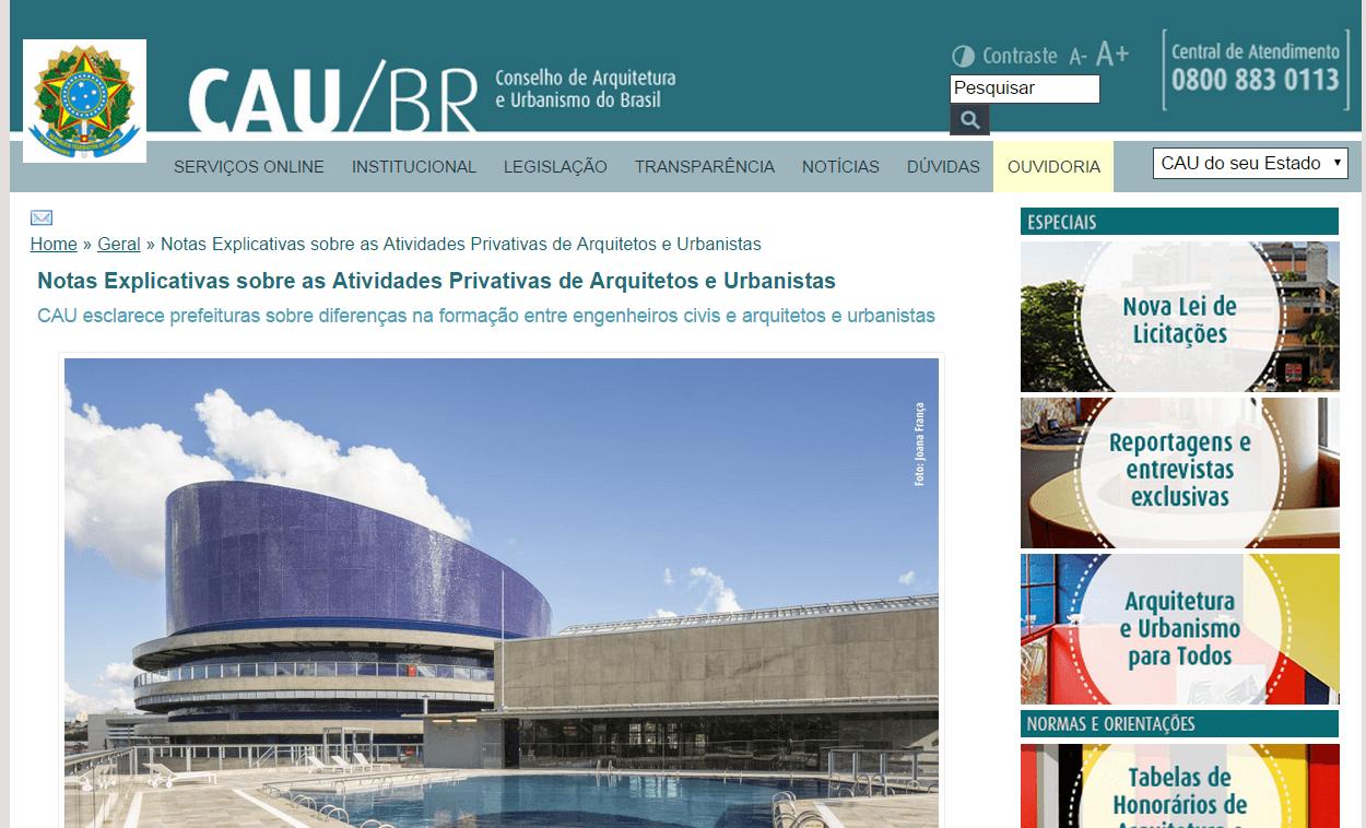 Polêmica arquitetos x engenheiros site do CAU