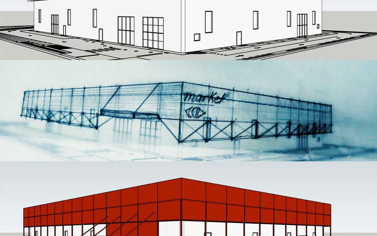 O objetivo do concurso reside na requalificação das fachadas do edifício comercial localizado em Bellusco, corso Alpi, 23 (Itália, Província de Monza e Brianza).